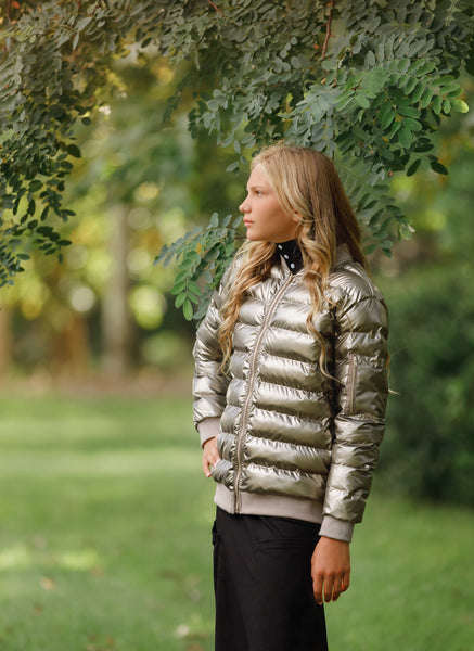 Metallic Puffer Jacket in Gold