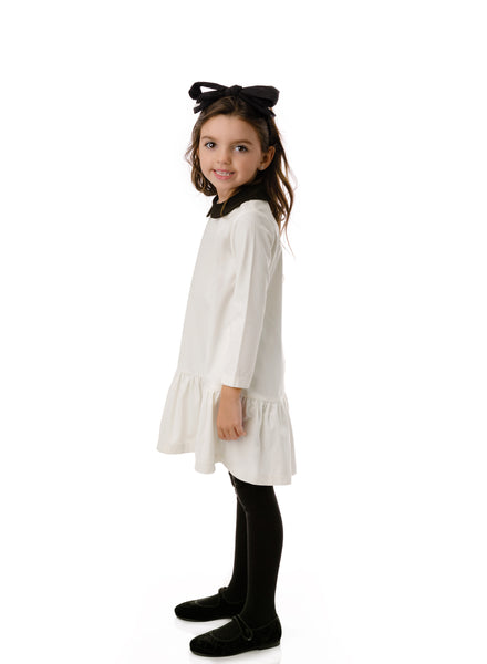 Girl's Velour High-low Dress in Ivory
