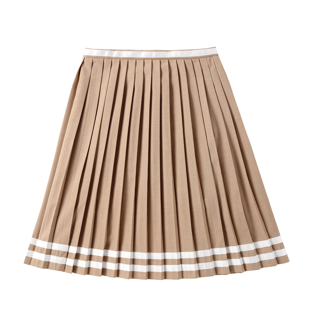 Teens Camel Pleated Skirt with Ivory Ribbon Detail