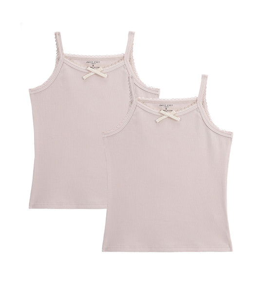 Girls 2pc Ribbed Tanks with Bow Oat