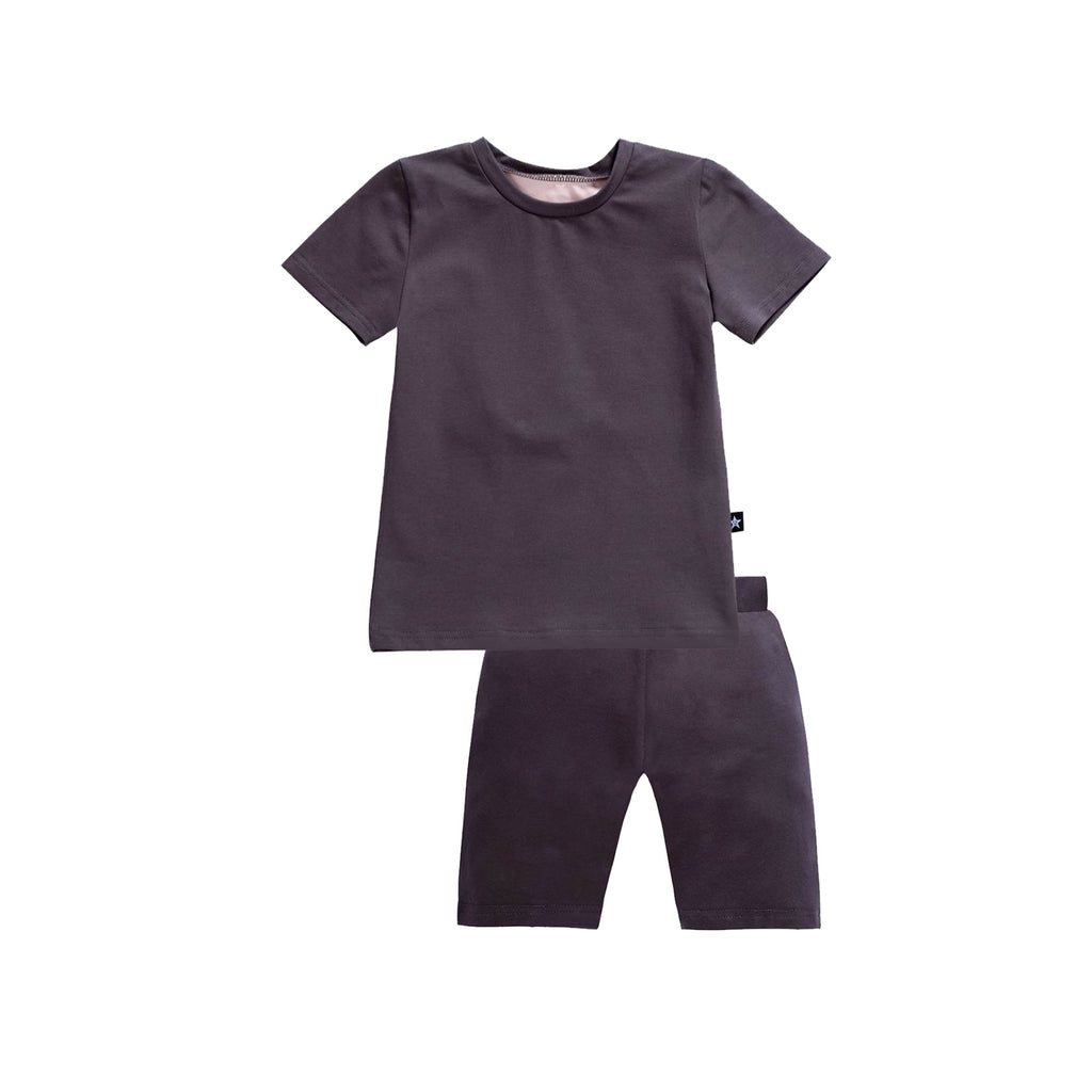 Hedley Pajamas in Grey/Pink Short Sleeve
