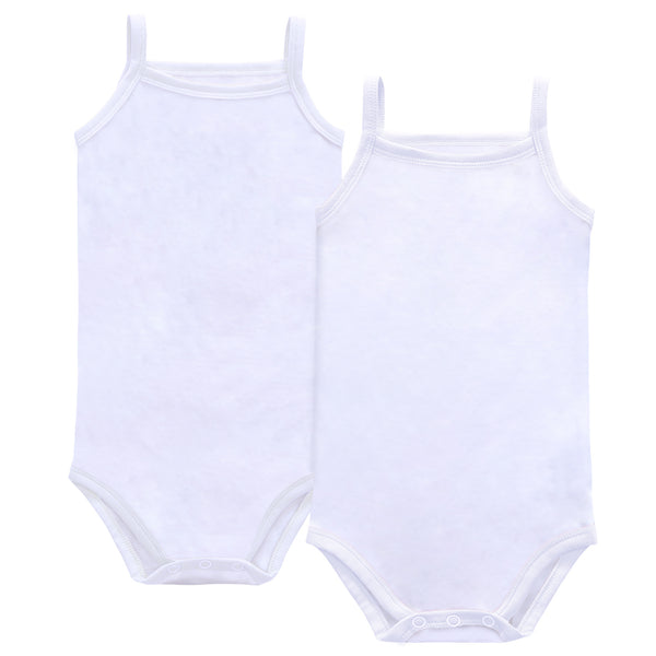 Baby Basic White Spaghetti Strap Bodysuit- NEW