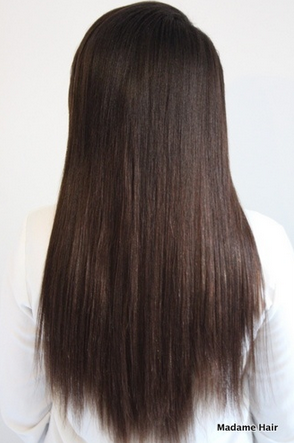 Textured Clip In Hair Extensions Mocha Brown 1B# Back View
