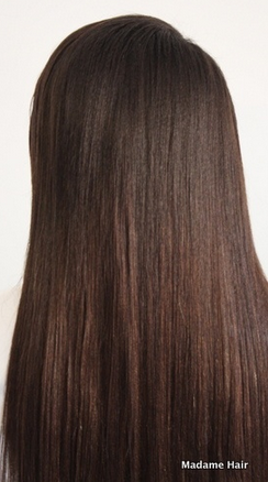 Textured Clip In Hair Extensions Back View Yaki Hair Dark Brown