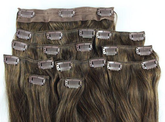 Clip In Hair Extensions Full Head Set Deluxe - Chocolate Brown