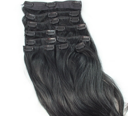 Clip In Hair Extensions Full Head Set Deluxe -  Jet Black 1#