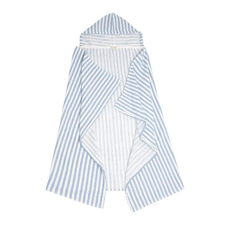 hooded towel, grey/blue stripe