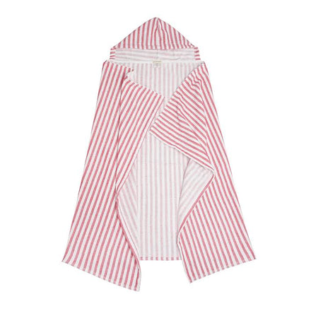 hooded towel, red stripe