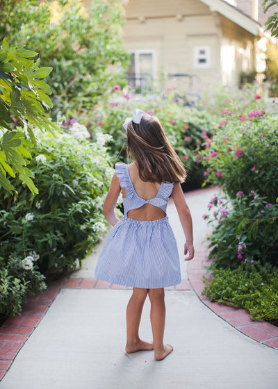 girls navy stripe ruffle collar dress