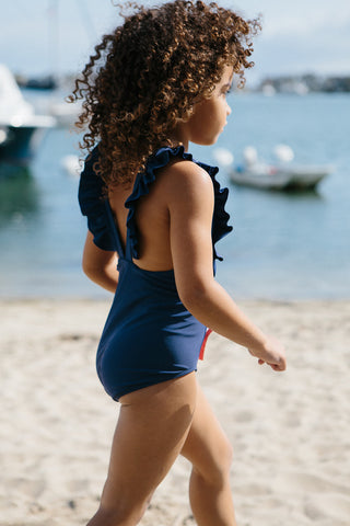 Girl's Navy Ruffle One Piece