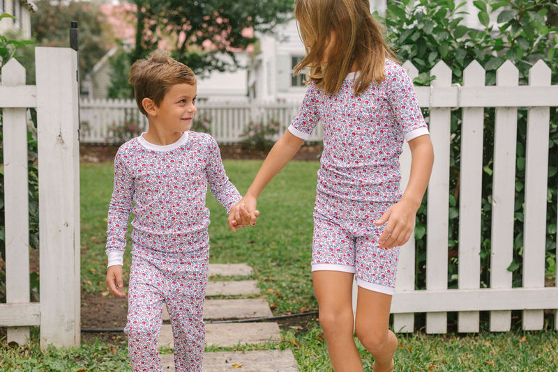 kids americana floral short pajama set