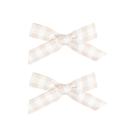 wunderkin x minnow Petite bow set, tan gingham