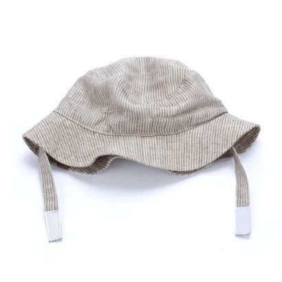 kids vintage wash linen stripe sun hat