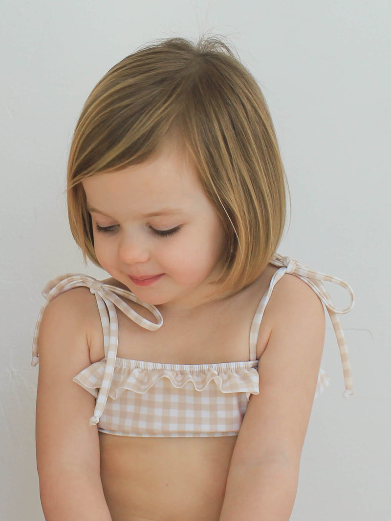 Girls Tan Gingham Bandeau Set
