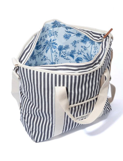 the cooler tote bag, navy stripe