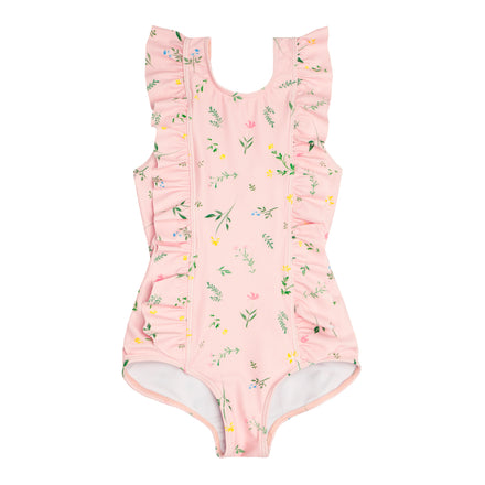 girls botanical pink ruffle one piece