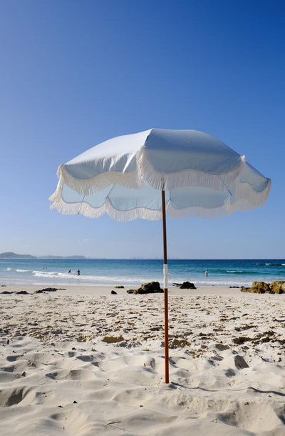 holiday beach umbrella, santorini blue