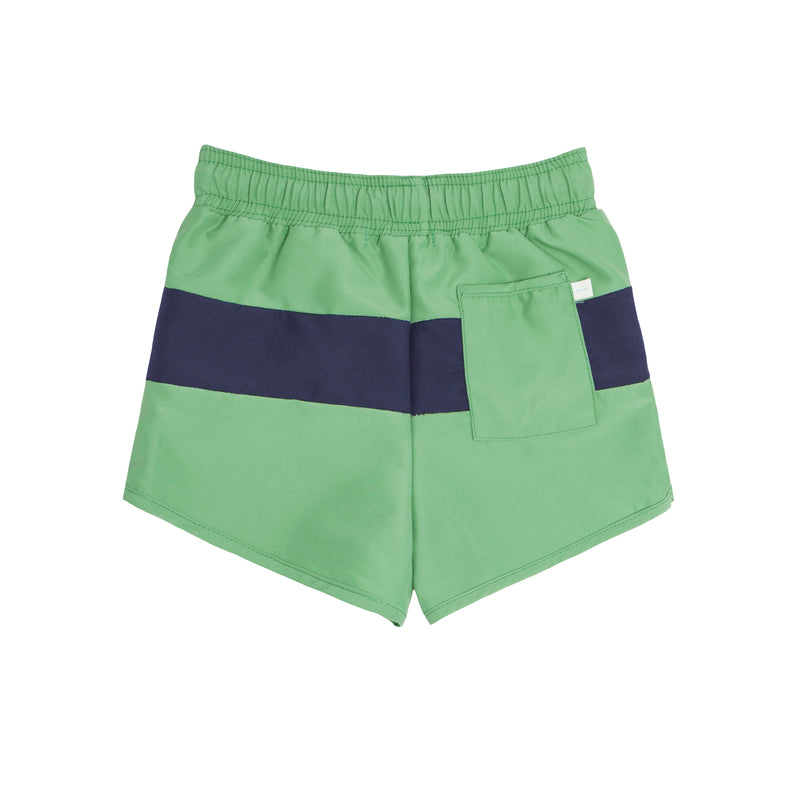 boys green and navy tricolor block boardie