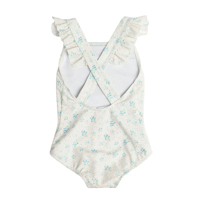 Girl's Crème Floral Crossover One Piece