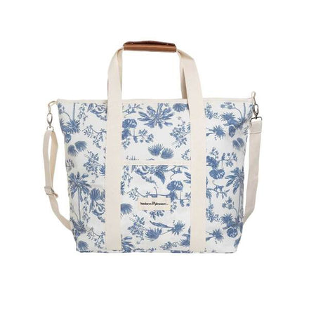 cooler tote bag, chinoiserie blue
