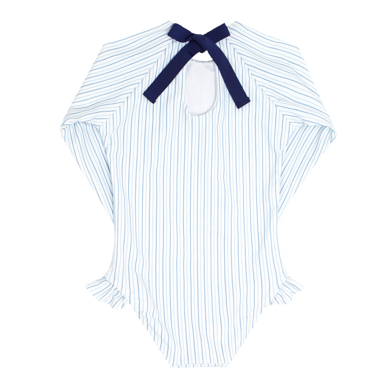 girls double stripe rashguard one piece
