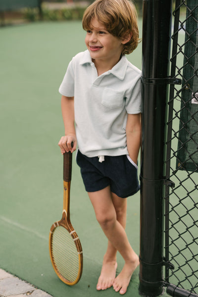 boys navy french terry short