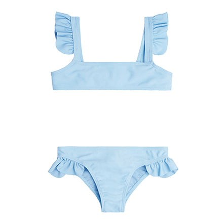 Girls French Blue Tie Back Bikini Set