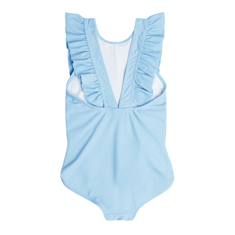 Girl's French Blue Ruffle One Piece