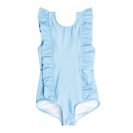 girls french blue ruffle one piece