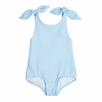 Girls French Blue Tie Knot One Piece