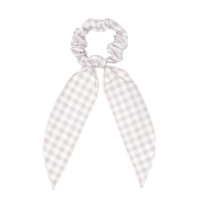 wunderkin x minnow scrunchie scarf, tan gingham