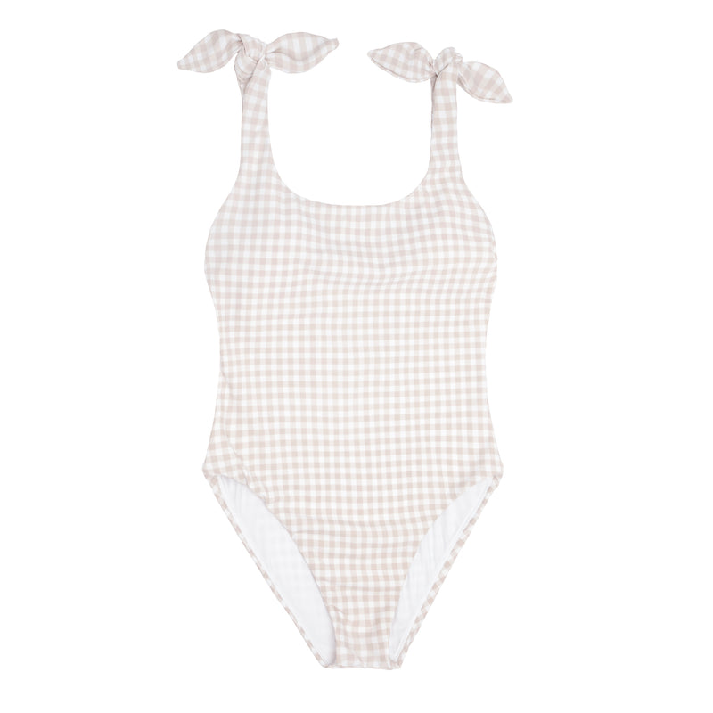 women's tan gingham tie knot one piece