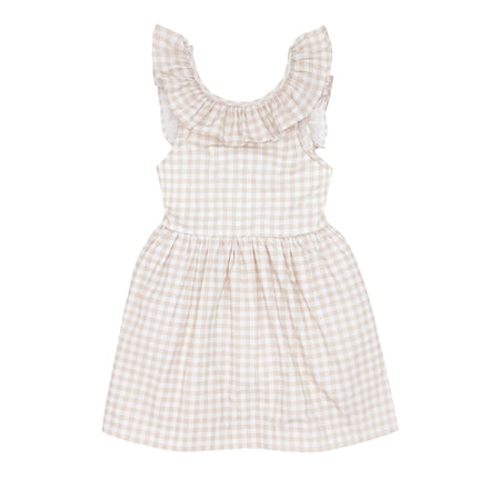 girls tan gingham ruffle collar dress