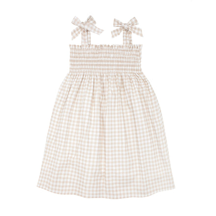 girls tan gingham smocked dress