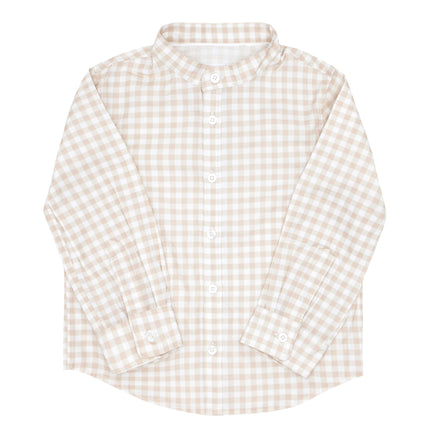 boys tan gingham long sleeve button down shirt