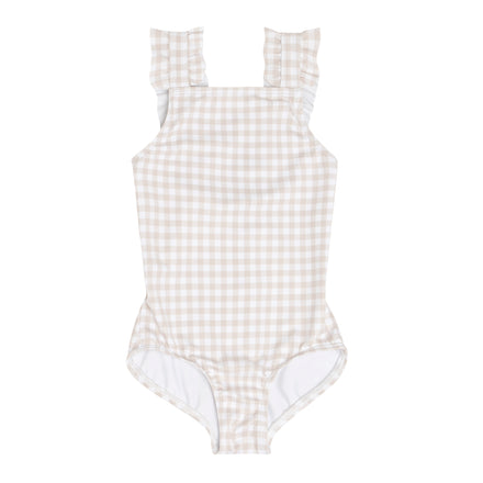 girls tan gingham ruffle strap one piece