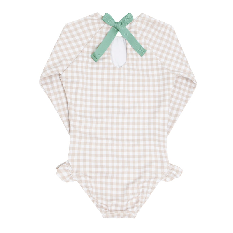 girls tan gingham rashguard one piece