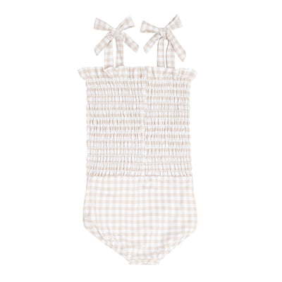 girls tan gingham smocked one piece
