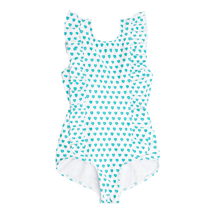 girls mint hearts ruffle one piece