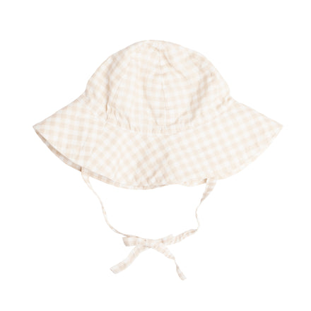 Tan Gingham Sun Hat