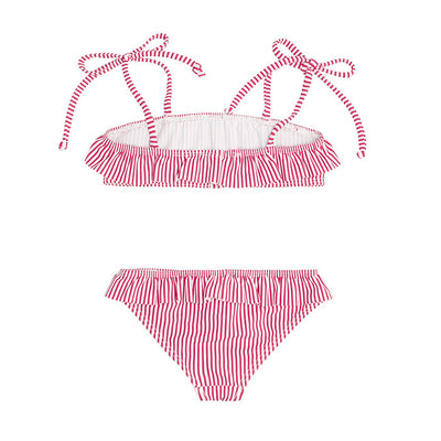 Girl's Red Stripe Bandeau Set