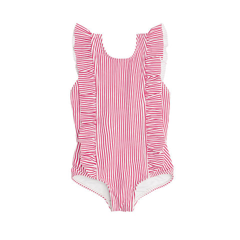 Girl's Red Stripe Ruffle One Piece