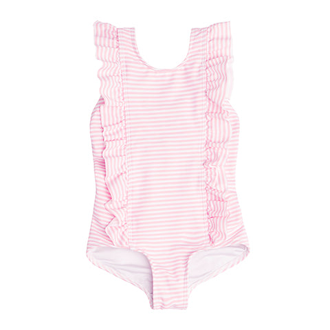 Floridian Pink Stripe Ruffle One Piece