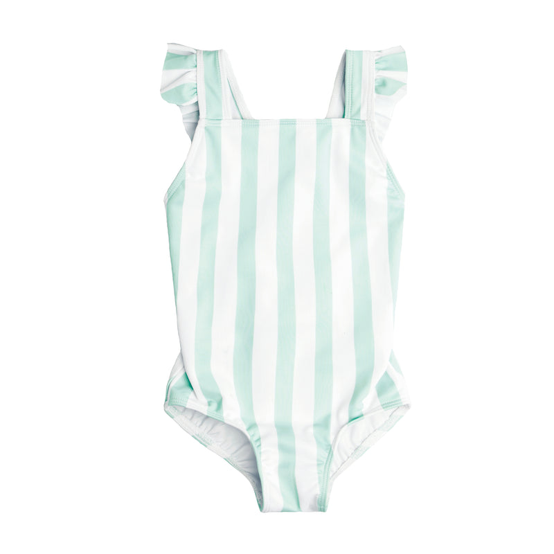 Girl's Seafoam Stripe Crossover One Piece