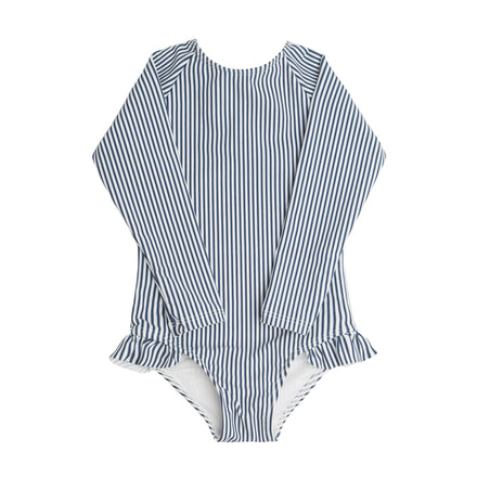 Girl's Navy Stripe Rashguard One Piece