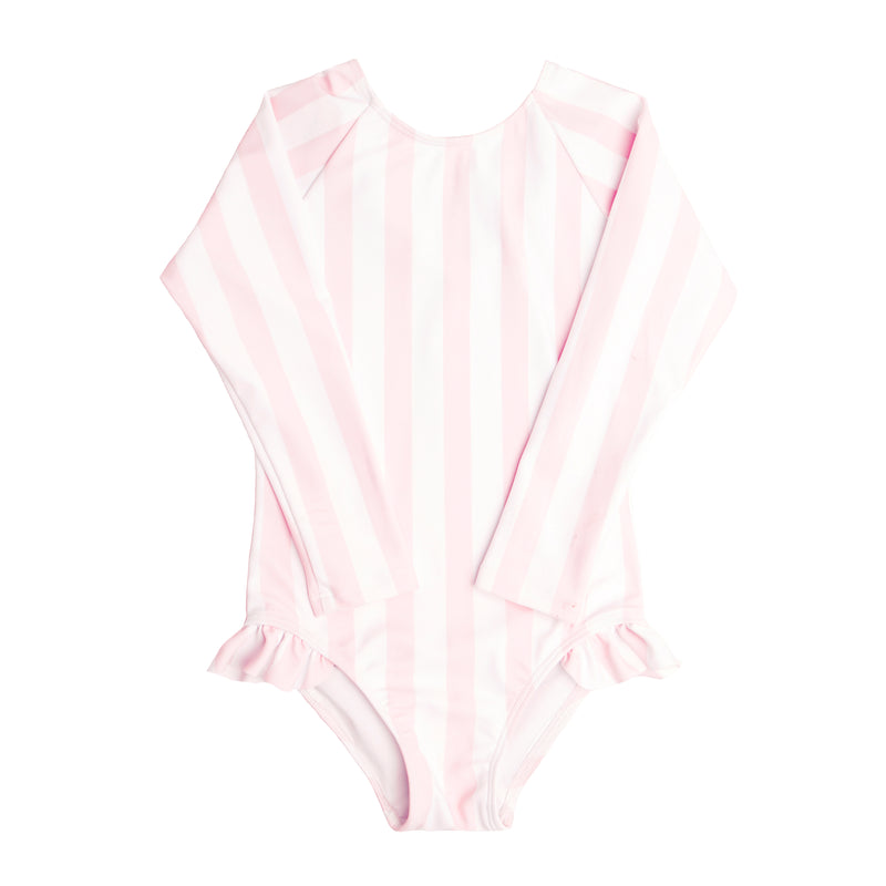 Girls Pomelo Pink Stripe Rashguard One Piece