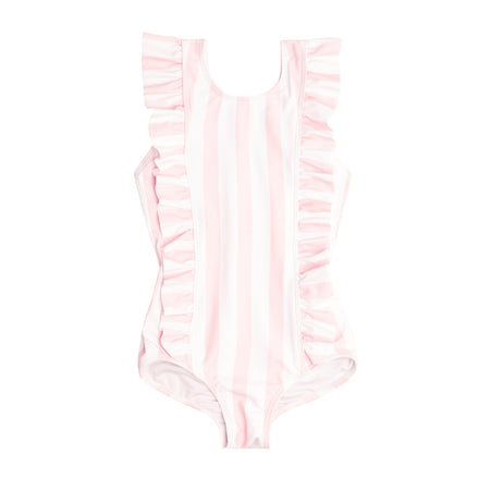 Girl's Pomelo Pink Stripe Ruffle One Piece