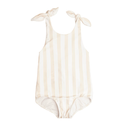 Girls Hazelnut Stripe Tie Knot One Piece