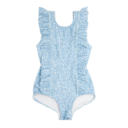 minnow x j.crew girls blue floral ruffle one piece