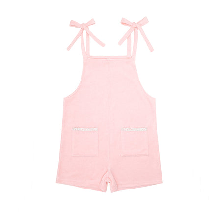 girls pink french terry romper